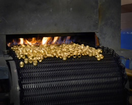 Ribbed brass ferrules completing annealing process